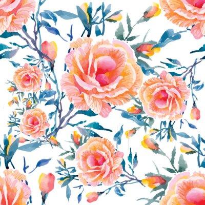 Fototapeta Bezešvé modely s krásnými květinami, akvarel ilustrace