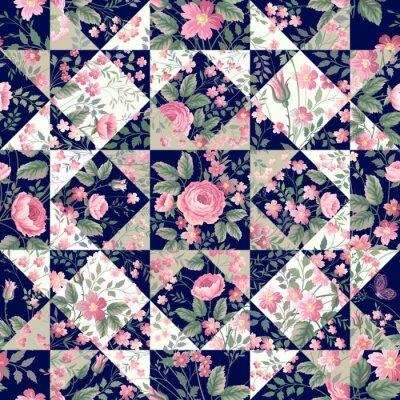Fototapeta bezešvé patchwork vzor s růžemi