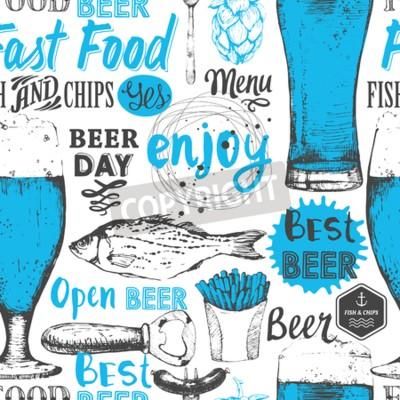 Fototapeta Bezešvé pozadí s pivní set. Nabídka Pub. Láhev a sklenice piva v náčrtu stylu. Vektorové ilustrace s pivní etikety.