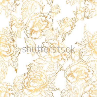 Fototapeta Bezešvé pozadí s pivoňkami květiny. Vektorové ilustrace napodobuje tradiční čínské inkoustové malby. Grafický ručně kreslený květinový vzor. Návrh textilních tkanin. Zlaté barvy.