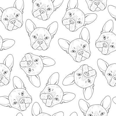 Fototapeta Bezešvé pozadí s roztomilou buldok náčrtu. Realistický pes ruční práce. Vybarvování jednobarevných s buldok. Print pro tisk na textil. Plemeno psů. Bezešvé pozadí se psem pro tištěné materiály