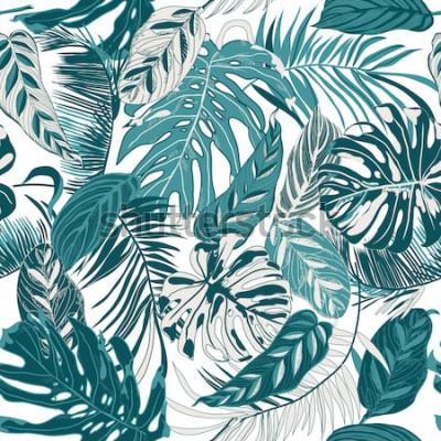 Fototapeta bezešvé pozadí s tropickými listy