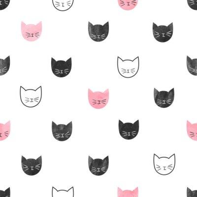 Fototapeta Bezešvé roztomilé kočky vzor. Vektorové pozadí s akvarel kočičími hlavami