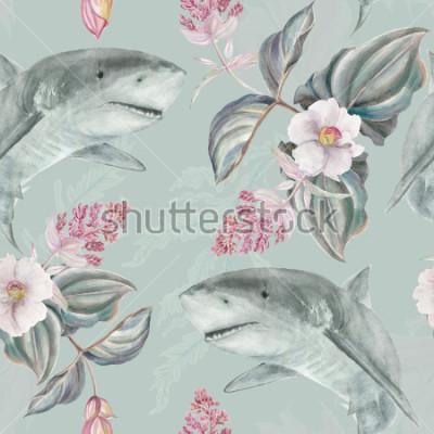 Fototapeta Bezešvé ručně ilustrovaný květinový vzor s růžovou Medinilla Magnifica a žralok
