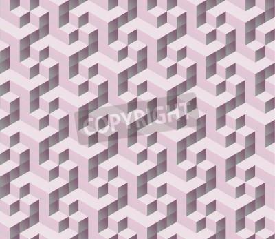 Fototapeta bezešvé růžové 3d izometrický kostka bezešvé vzor. Abstraktní digitální barevné geometrické pozadí.