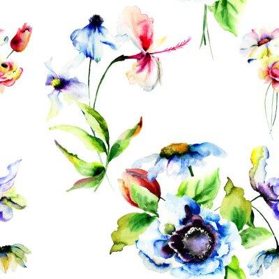 Fototapeta Bezešvé tapety s stylizované květy