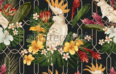 Fototapeta Bezešvé tropické vzorek pozadí s tropickými květinami a kakadu pták. Tropicana tapety, digitální papír, rastrové ilustrace ve vinobraní havajský styl.