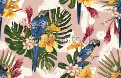 Fototapeta Bezešvé tropické vzorek pozadí s tropickými květinami, modrá a žlutá papoušek a plameňák. Tropické ilustrace ve vinobraní havajský styl.