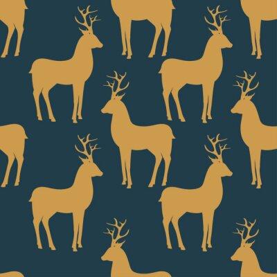 Fototapeta Bezešvé vektoru vzor s jelenem