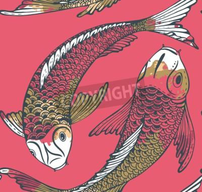 Bezesve Vektoru Vzor S Rucne Nakresleneho Koi Ryb Japonsky Kapr