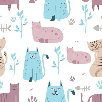 Fototapeta Bezešvé vzor Roztomilý kočka s ručně kreslenou kreslený