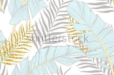 Fototapeta Bezešvé vzor s banány a zlaté palmové listy ve vektoru