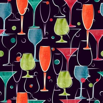 Fototapeta Bezešvé vzor s barevnými akvarel koktejlové sklenice. Vektor pozadí.
