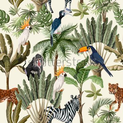 Fototapeta Bezešvé vzor s exotickými stromy a zvířata.
