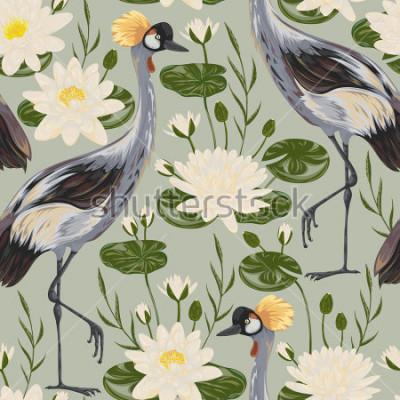 Fototapeta Bezešvé vzor s jeřáb ptačí a leknín. Orientální motiv. Vintage ručně kreslenou vektorové ilustrace ve stylu akvarelu