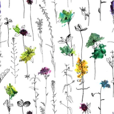 Fototapeta Bezešvé vzor s kresbou bylin a květin