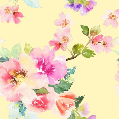 Fototapeta Bezešvé vzor s květinami akvarel. Jemné barvy.