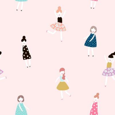 Fototapeta Bezešvé vzor s módními dívkami. Moderní styl ploché vektorové pozadí.