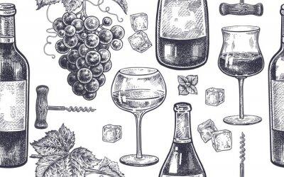 Fototapeta Bezešvé vzor s pitím vína.