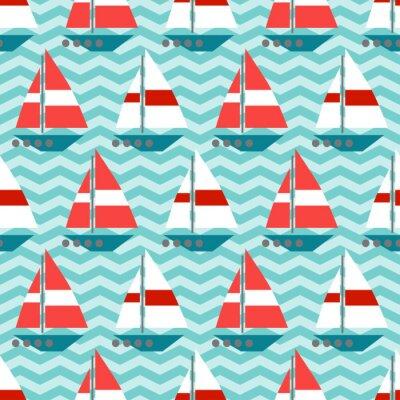 Fototapeta Bezešvé vzor s plachetnic na vlnách