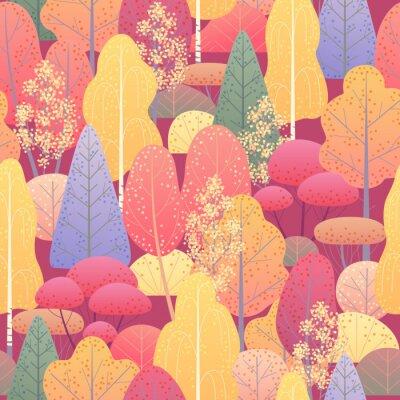 Fototapeta Bezešvé vzor s podzimní les