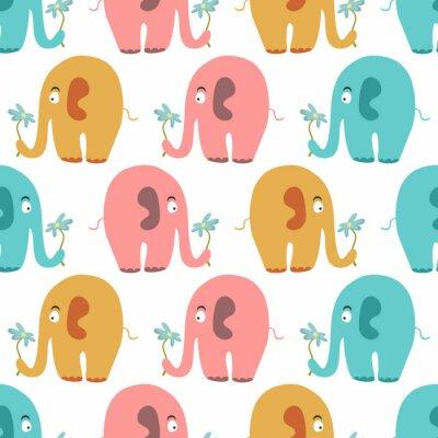 Fototapeta Bezešvé vzor s roztomilými barevnými zvířaty