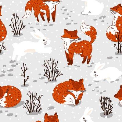 Fototapeta Bezešvé vzor s roztomilými lišky a zajíčka. zimní ilustrace
