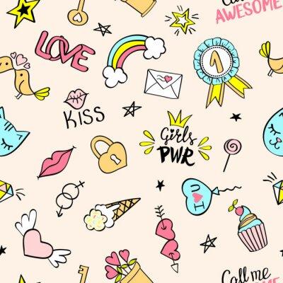 Fototapeta Bezešvé vzor s ručně kreslenými dívkami. Opakované pozadí s dětskými náčrty designových prvků pro textil, tapety, scrapbooking.