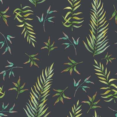 Fototapeta bezešvé vzor s tropickými listy na tmavém pozadí