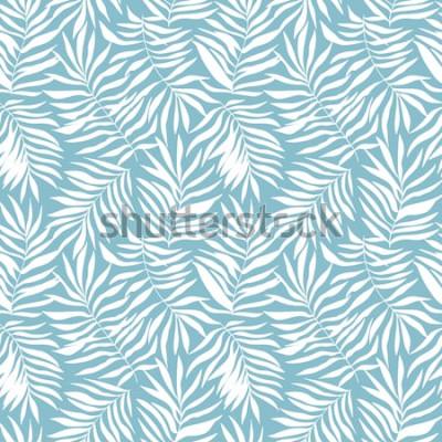 Fototapeta Bezešvé vzor s tropickými palmovými listy. Krásný tisk s ručně tažené exotické rostliny. Botanický design plavek. Vektorové ilustrace.