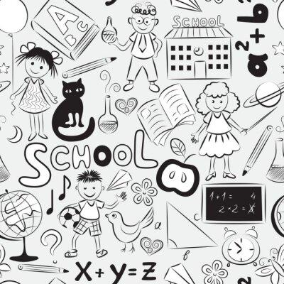 Fototapeta Bezešvé vzor se školní tématikou