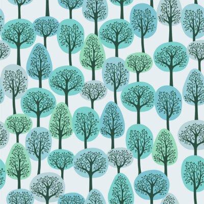 Fototapeta bezešvé vzor se zimní les