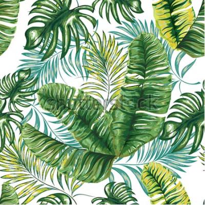 Fototapeta Bezešvé vzor tropické palmy, listy džungle a květiny. Ruční kreslení. Vektorové květinový vzor.