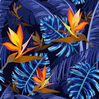 Fototapeta Bezešvé vzorek s modrými tropickými květinami