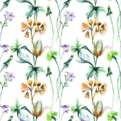 Fototapeta Bezešvé vzorek s originálními letními květinami