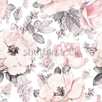 Fototapeta Bezešvé vzorek s růžovými květy a listy na bílém pozadí, akvarel květinovým vzorem, růžová květina v pastelových barvách, dlaždicovatelná pro tapetu, kartu nebo látku