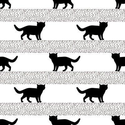 Fototapeta Bezešvé vzory s siluety černé kočky.