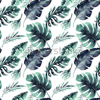 Fototapeta Bezešvý akvarelový vzor tropických listů, hustá džungle. Ručně malovaný palmový list. Textura s tropickým letním časem může být použita jako pozadí, obalový papír, textilní nebo tapetový design.