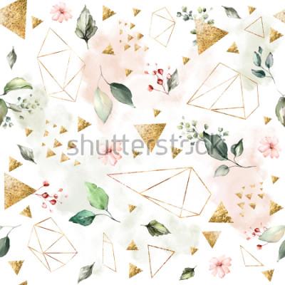 Fototapeta Bezešvý vzor s pružinovými listy a květinami. Ručně s pozadím. vzorek s geometrickým polygonálním tvarem. Botanická dlažba.