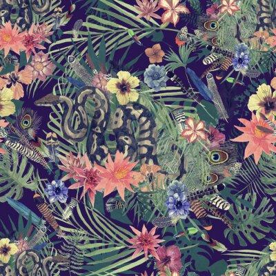 Fototapeta Bezešvým ručně kresleným akvarelovým vzorem s boa, květinami, peřím.