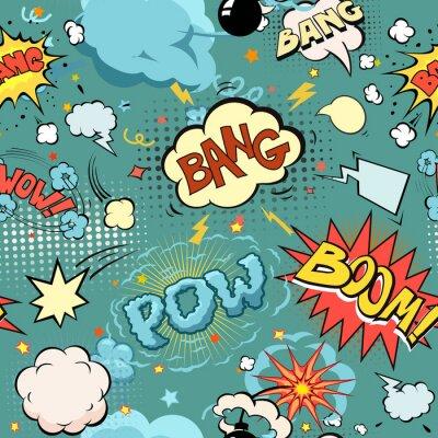 Fototapeta Bezproblémová Comic Book výbuchu, bomby a Blast Set. bubliny pro řeč, různých zvuků a šípy.