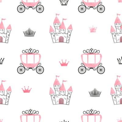 Fototapeta Bezproblémová princezna s hradbami, korunami a kočárky. Vektorové pozadí.