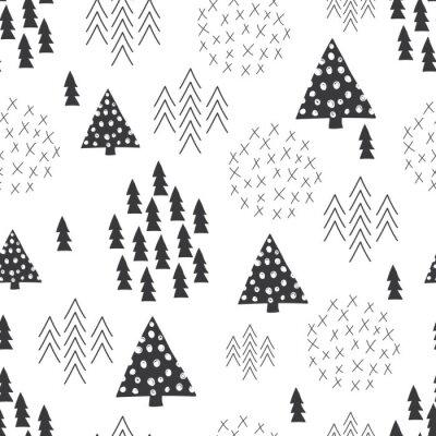 Fototapeta Bezproblémová skandinávském stylu jednoduché ilustrace vánoční strom na pozadí