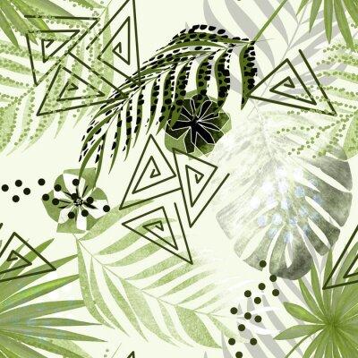 Fototapeta Bezproblémové barevné tropické vzorek. Zelené palmové listy, květiny bílé pozadí.
