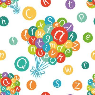 Fototapeta Bezproblémové vzor vektor - legrační anglické abecedy. Ručně malovaná křída jako písmena v barevných kruhů.