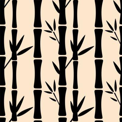 Fototapeta Bezproblémové vzorek s černé siluety bambusů