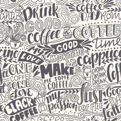 Fototapeta Bezproblémový nápis na kávu s uvozovkami. Ručně kreslené vektorové ilustrace