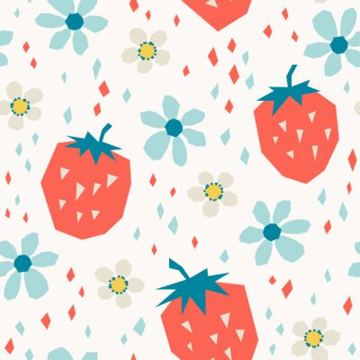 Fototapeta bezproblémový vzor s jahodami a květinami