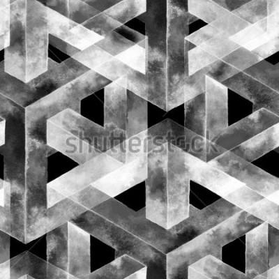 Fototapeta Bezproblémový vzorek vyrobený z optické iluze. Akvarel neobvyklé textury. Ručně kreslená ilustrace pro tapety, pozadí a banner.