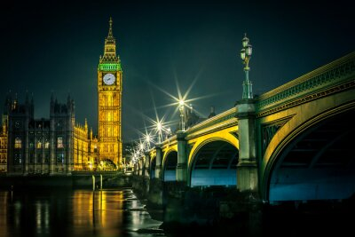 Fototapeta Big Ben a Houses of Parliament za soumraku, Londýn, Velká Británie